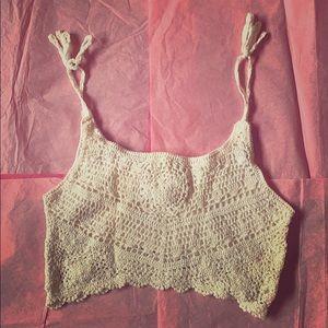 Billabong crochet crop top w/ tie straps